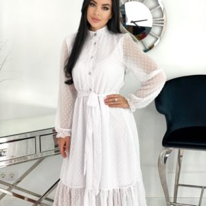 Купить по скидке платье из структурного шифона с длинным рукавом (размер 42-48) белое для женщин