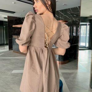 Купить онлайн платье мини из льна для женщин с объемными рукавами бежевого цвета
