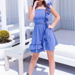 Приобрести недорого голубое летнее платье в полоску с рюшами для женщин