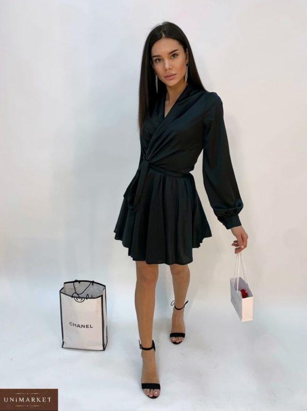 Приобрести черного цвета шелковое платье женское мини с длинным рукавом в интернет-магазине