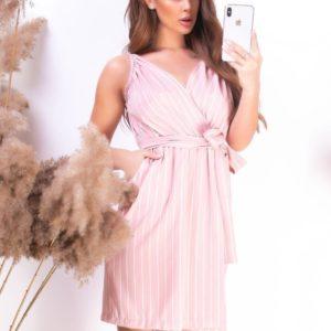 Купить онлайн цвета пудра полосатое платье для женщин на запах с поясом в Украине