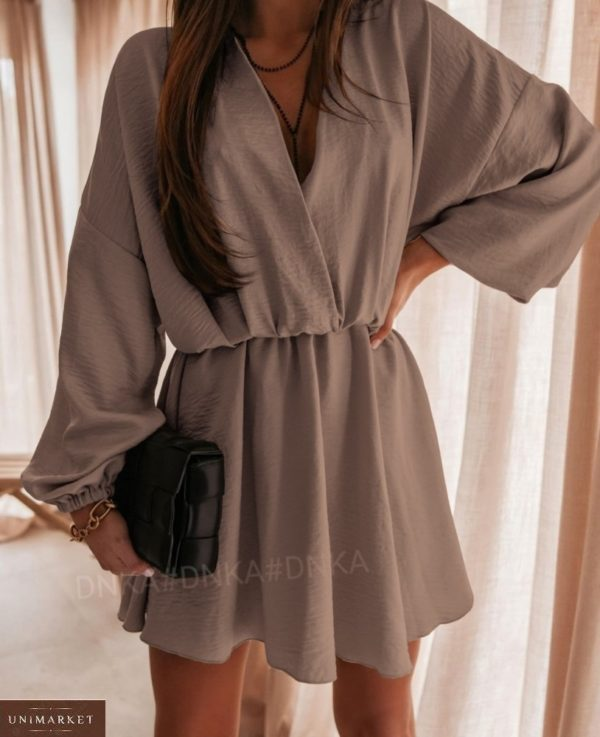 Купить мокко летнее платье женское из жатки с длинным рукавом (размер 42-56) по низким ценам
