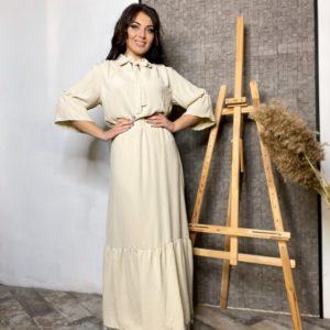 Заказать платье в пол по скидке бежевое с подолом в горошек (размер 42-56) для женщин