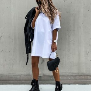 Заказать недорого платье белого цвета оверсайз из стрейч-коттона (размер 42-54) для женщин