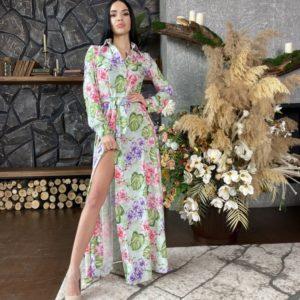 Купить онлайн фисташкового цвета платье-рубашка в пол для женщин в цветочный принт