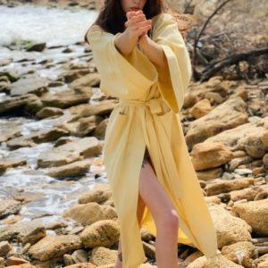 Купить выгодно цвета горчица длинное платье кимоно для женщин из льна (размер 42-48)
