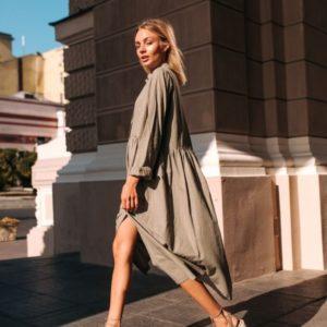 Купить выгодно оливка свободное платье-рубашка с длинным рукавом для женщин