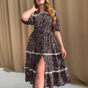 Приобрести выгодно женское цветочное платье-рубашка черное из штапеля