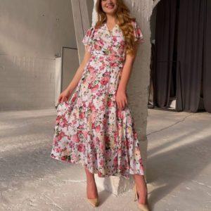 Приобрести белое в цветы принтованное платье женское на запах длины миди по скидке