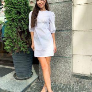 Приобрести онлайн недорого платье мини из льна с рукавами-фонариками белого цвета