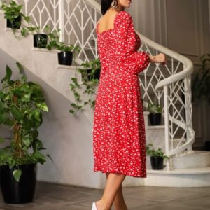 Заказать выгодно красное цветочное платье миди из софта (размер 42-48) по скидке для женщин