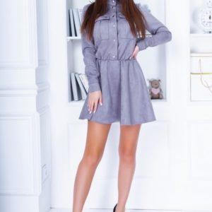 Купить по низким ценам закрытое замшевое платье для женщин с длинным рукавом серого цвета
