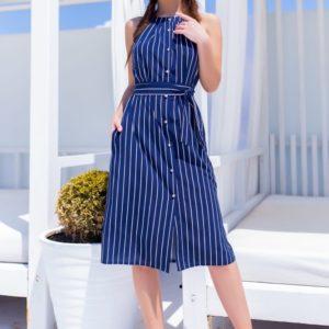 Приобрести женское летнее платье в полоску синее с открытыми плечами недорого