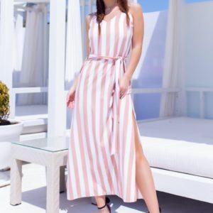 Приобрести бежевого цвета женское длинное платье в вертикальную полоску дешево с поясом