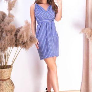 Заказать дешево полосатое платье для женщин голубого цвета на запах с поясом в Украине