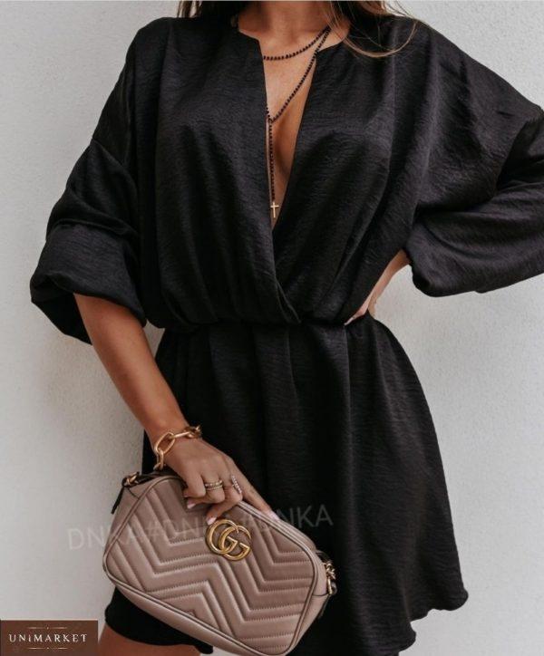 Приобрести черное летнее платье из жатки с длинным рукавом для женщин (размер 42-56) дешево