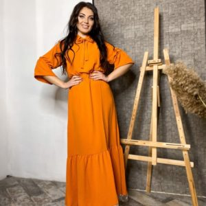 Заказать цвета терракот женское платье в пол с подолом (размер 42-56) в Украине в горошек