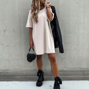 Приобрести бежевое платье оверсайз из стрейч-коттона (размер 42-54) для женщин по низким ценам