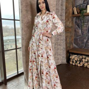 Купить бежевое платье-рубашка онлайн в пол для женщин в цветочный принт