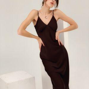 Заказать в интернете женское платье комбинация из искусственного шелка бордового цвета