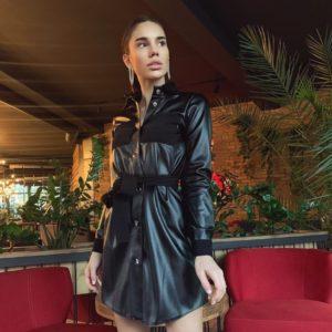 Заказать черное кожаное женское платье с вельветовыми вставками в Украине