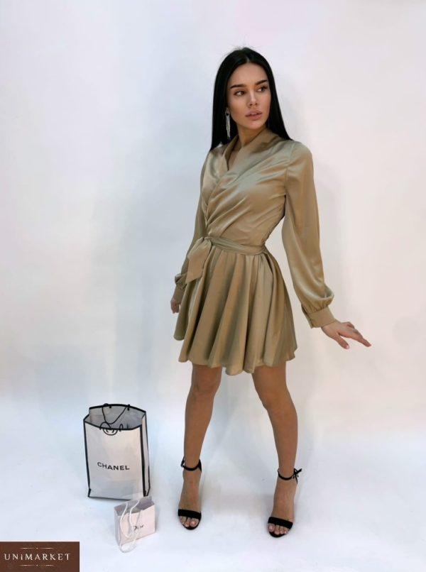 Купить недорого женское шелковое платье мини бежевое с длинным рукавом