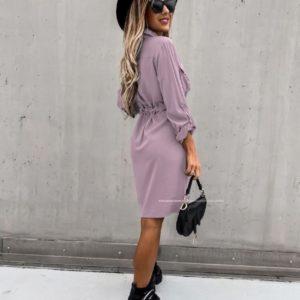 Приобрести лилового цвета женское платье-рубашка на пуговицах с поясом (размер 42-56) в интернете