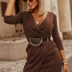 Приобрести платье цвета кофе мини на запах онлайн с рукавом 3/4 (размер 42-56) для женщин