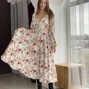 Заказать бежевое платье по низким ценам в цветы онлайн длины миди для женщин