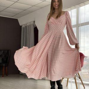 Приобрести недорого женское платье розовое в горошек длины миди в Украине