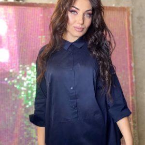 Заказать синюю женскую рубашку в Украине из бенгалина (размер 42-56) в интернете