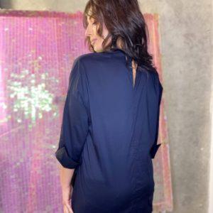 Заказать синюю рубашку из бенгалина для женщин (размер 42-56) онлайн