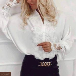 Приобрести по низким ценам женскую рубашку из шифона с кружевом белого цвета