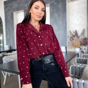 Приобрести цвета марсал рубашку с длинным рукавом дешево в горошек (размер 42-56) женскую