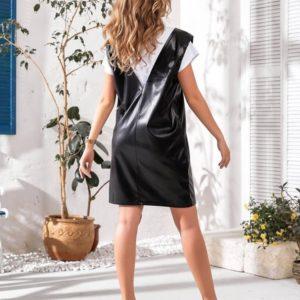 Заказать на распродаже женский сарафан из эко кожи с вырезом черного цвета