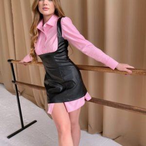 Приобрести по скидке женскую юбку-сарафан из эко кожи черного цвета