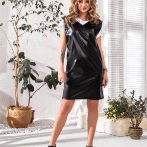Приобрести черный сарафан для женщин из эко кожи с вырезом дешево