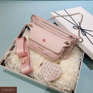 Заказать розового цвета комплект 3 в 1: сумка, клатч и кошелек для женщин онлайн