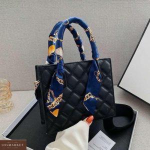 Приобрести дешево женскую сумку мини с платком на ручках черного цвета