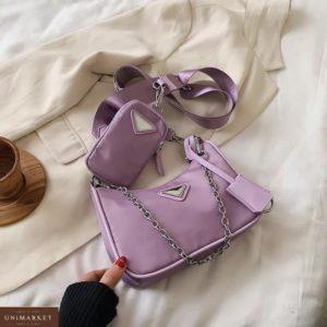 Купить сиреневую женскую сумку 2 в 1 по скидке : сумка и кошелек