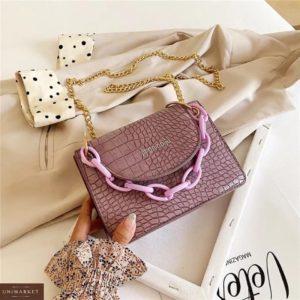 Заказать дешево женскую сумку мини сиреневую с цветной цепочкой