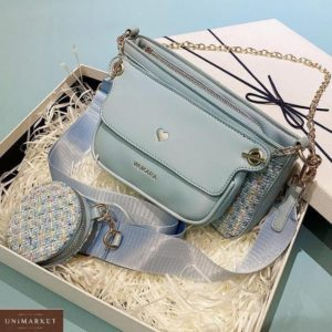 Заказать женский комплект 3 в 1 голубой: сумка, клатч и кошелек онлайн