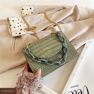 Заказать женскую сумку мини зеленого цвета с цветной цепочкой в Украине
