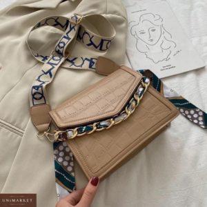 Купить онлайн женскую мини сумку с цепью бежевую и платком в Украине