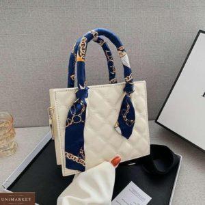 Купить белую сумку мини для женщин с платком на ручках дешево