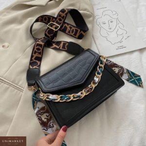 Купить черного цвета женскую мини сумку выгодно с цепью и платком