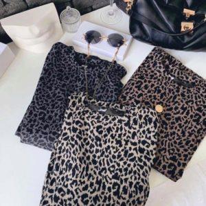Заказать женскую футболку с леопардовым принтом серую, беж, коричневую в Украине