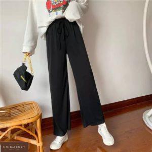 Купить в Украине женские свободные штаны черного цвета из летнего трикотажа дешево
