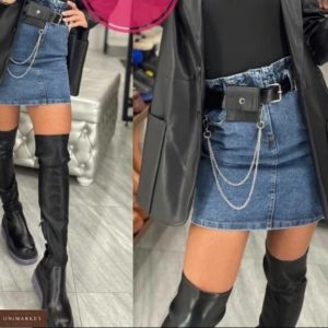 Купить выгодно женскую юбку с поясом с кошельком в комплекте синего цвета