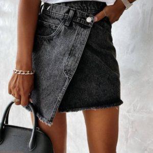 Купить в интернете серую джинсовую юбку с косой застежкой для женщин